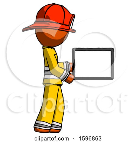 Orange Firefighter Fireman Man Show Tablet Device Computer to Viewer, Blank Area by Leo Blanchette