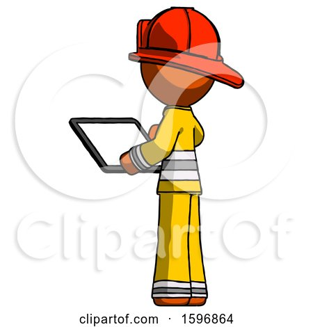Orange Firefighter Fireman Man Looking at Tablet Device Computer with Back to Viewer by Leo Blanchette