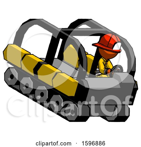 Orange Firefighter Fireman Man Driving Amphibious Tracked Vehicle Top Angle View by Leo Blanchette