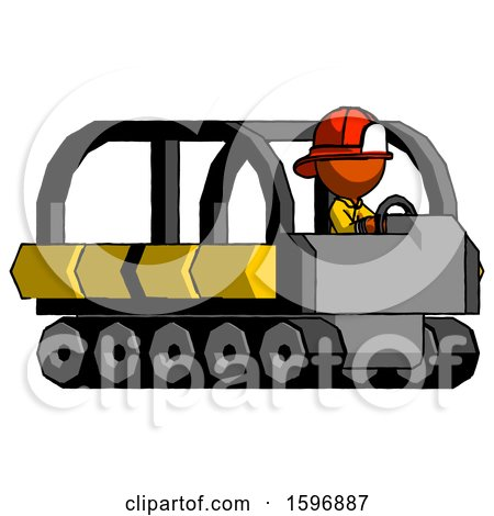 Orange Firefighter Fireman Man Driving Amphibious Tracked Vehicle Side Angle View by Leo Blanchette