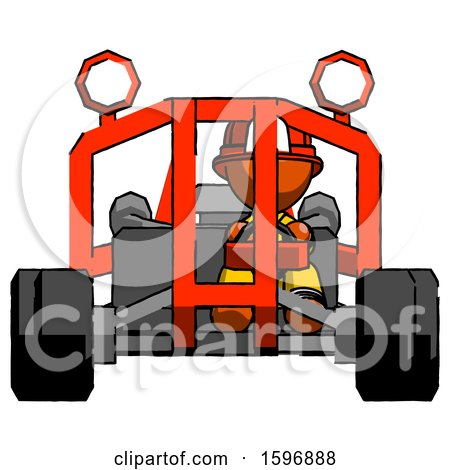 Orange Firefighter Fireman Man Riding Sports Buggy Front View by Leo Blanchette