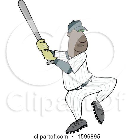 Clipart of a Cartoon Black Male Baseball Player Batting - Royalty Free Vector Illustration by djart
