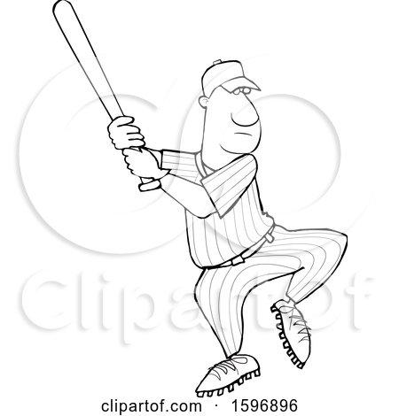 Clipart of a Cartoon Lineart Black Male Baseball Player Batting - Royalty Free Vector Illustration by djart