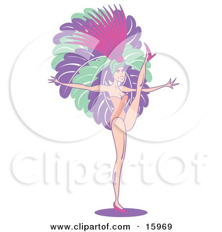 Female Vegas Showgirl Wearing Feathers, Dancing While Entertaining A Casino Crowd Clipart Illustration by Andy Nortnik