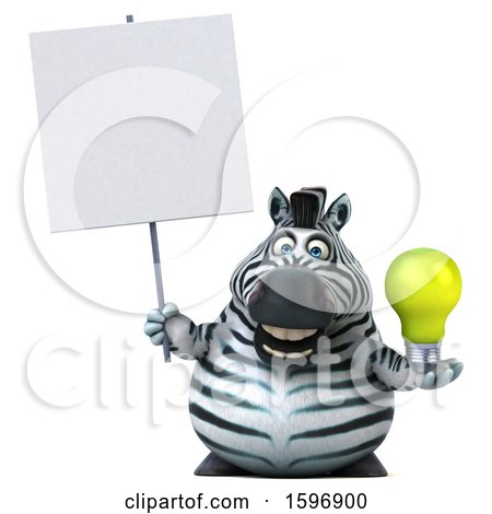 Clipart of a 3d Zebra Holding a Light Bulb, on a White Background - Royalty Free Illustration by Julos