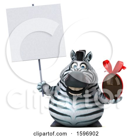 Clipart of a 3d Zebra Holding a Chocolate Egg, on a White Background - Royalty Free Illustration by Julos