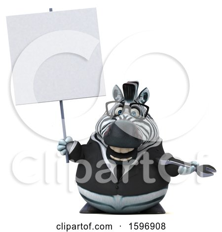 Clipart of a 3d Business Zebra Holding a Wrench, on a White Background - Royalty Free Illustration by Julos