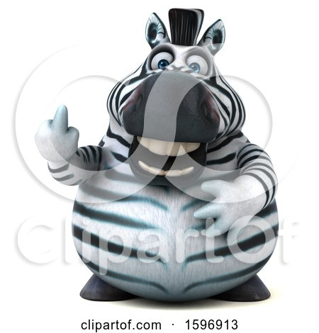 Clipart of a 3d Zebra Holding up a Middle Finger, on a White Background - Royalty Free Illustration by Julos