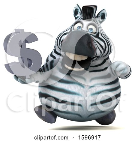 Clipart of a 3d Zebra Holding a Dollar Symbol, on a White Background - Royalty Free Illustration by Julos