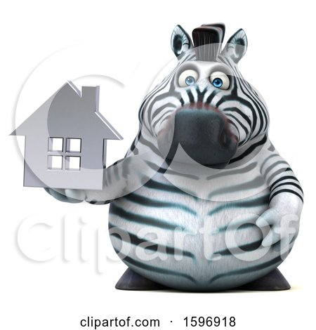 Clipart of a 3d Zebra Holding a House, on a White Background - Royalty Free Illustration by Julos