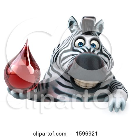 Clipart of a 3d Zebra Holding a Blood Drop, on a White Background - Royalty Free Illustration by Julos