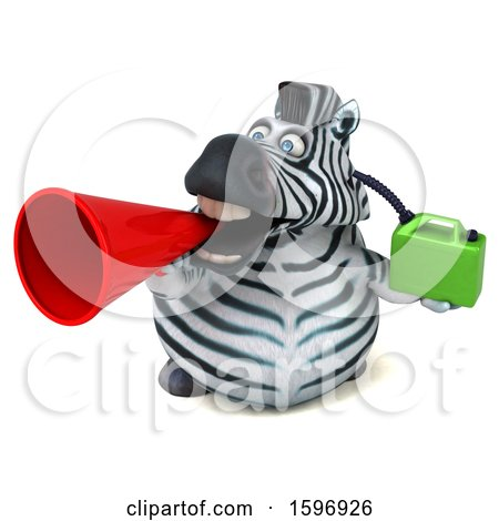 Clipart of a 3d Zebra Holding a Gas Can, on a White Background - Royalty Free Illustration by Julos