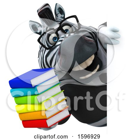 Clipart of a 3d Business Zebra Holding Books, on a White Background - Royalty Free Illustration by Julos