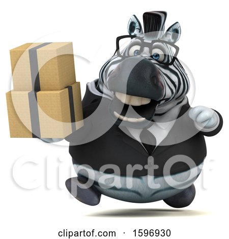 Clipart of a 3d Business Zebra Holding Boxes, on a White Background - Royalty Free Illustration by Julos