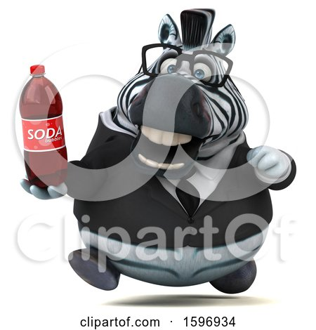 Clipart of a 3d Business Zebra Holding a Soda, on a White Background - Royalty Free Illustration by Julos