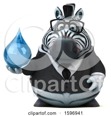 Clipart of a 3d Business Zebra Holding a Water Drop, on a White Background - Royalty Free Illustration by Julos
