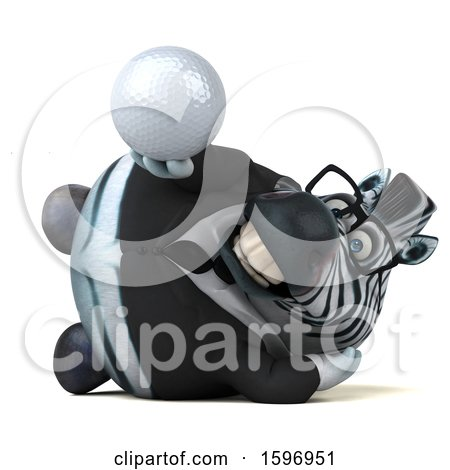 Clipart of a 3d Business Zebra Holding a Golf Ball, on a White Background - Royalty Free Illustration by Julos