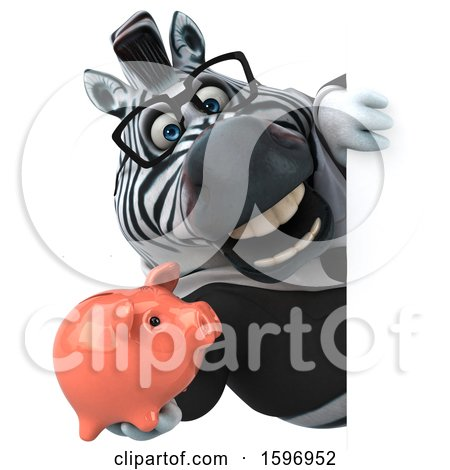 Clipart of a 3d Business Zebra Holding a Piggy Bank, on a White Background - Royalty Free Illustration by Julos