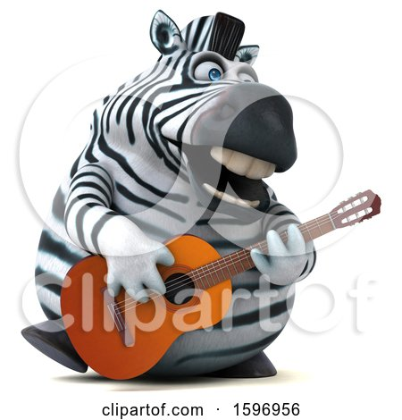 Clipart of a 3d Zebra Playing a Guitar, on a White Background - Royalty Free Illustration by Julos