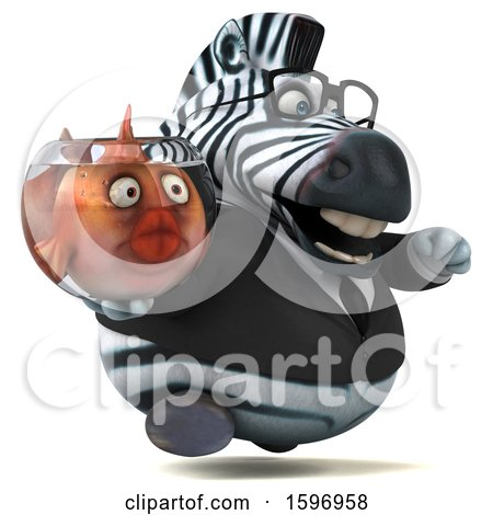 Clipart of a 3d Business Zebra Holding a Fish Bowl, on a White Background - Royalty Free Illustration by Julos