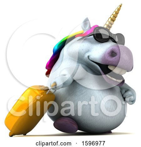 Clipart of a 3d Chubby Unicorn Traveler, on a White Background - Royalty Free Illustration by Julos
