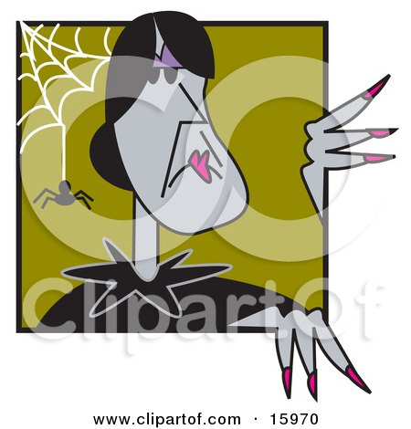 Old Gray Witch With Black Hair, Peeking Around A Corner With A Spider And Web Posters, Art Prints