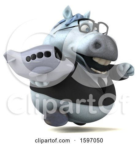 Clipart of a 3d Chubby White Business Horse Holding a Plane, on a White Background - Royalty Free Illustration by Julos