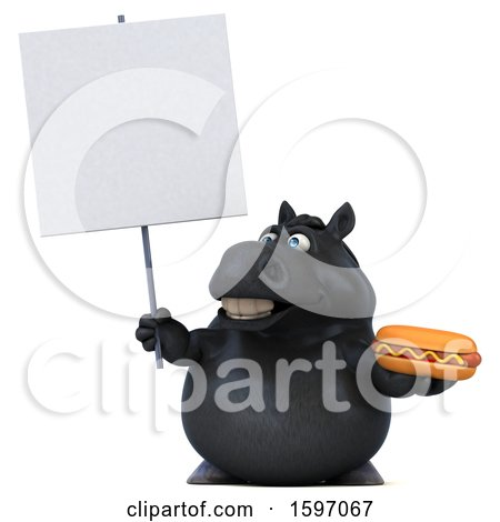 Clipart of a 3d Chubby Black Horse Holding a Hot Dog, on a White Background - Royalty Free Illustration by Julos