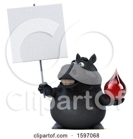 Clipart of a 3d Chubby Black Horse Holding a Blood Drop, on a White Background - Royalty Free Illustration by Julos