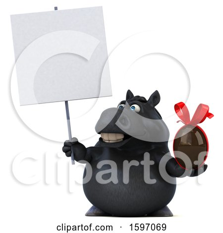 Clipart of a 3d Chubby Black Horse Holding a Chocolate Egg, on a White Background - Royalty Free Illustration by Julos