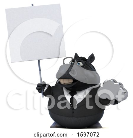 Clipart of a 3d Chubby Black Business Horse Holding a Cloud, on a White Background - Royalty Free Illustration by Julos