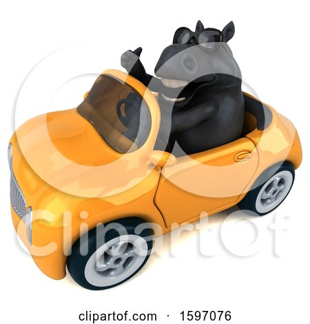 Clipart of a 3d Chubby Black Horse Driving a Convertible, on a White Background - Royalty Free Illustration by Julos