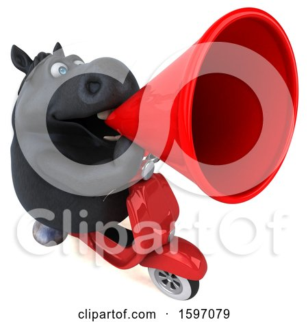 Clipart of a 3d Chubby Black Horse Riding a Scooter, on a White Background - Royalty Free Illustration by Julos