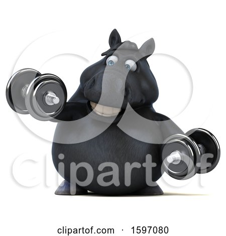 Clipart of a 3d Chubby Black Horse Working out with Dumbbells, on a White Background - Royalty Free Illustration by Julos