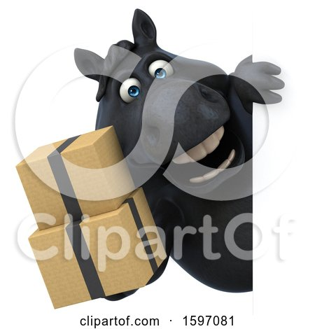 Clipart of a 3d Chubby Black Horse Holding Boxes, on a White Background - Royalty Free Illustration by Julos