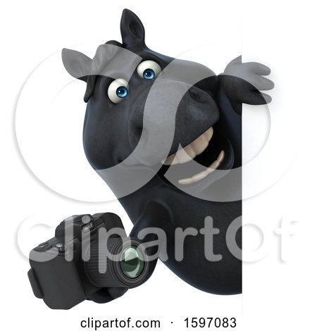 Clipart of a 3d Chubby Black Horse Holding a Camera, on a White Background - Royalty Free Illustration by Julos