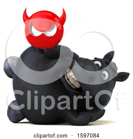 Clipart of a 3d Chubby Black Horse Holding a Devil, on a White Background - Royalty Free Illustration by Julos