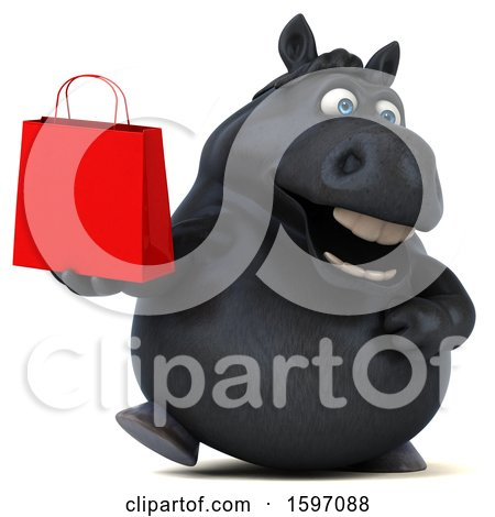 Clipart of a 3d Chubby Black Horse Holding a Shopping Bag, on a White Background - Royalty Free Illustration by Julos