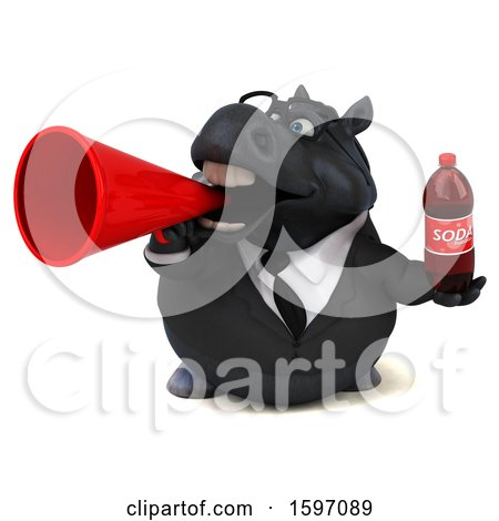 Clipart of a 3d Chubby Black Business Horse Holding a Soda, on a White Background - Royalty Free Illustration by Julos