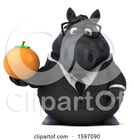 Clipart of a 3d Chubby Black Business Horse Holding an Orange, on a White Background - Royalty Free Illustration by Julos