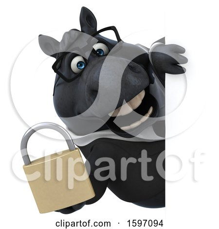 Clipart of a 3d Chubby Black Business Horse Holding a Padlock, on a White Background - Royalty Free Illustration by Julos