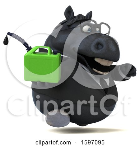 Clipart of a 3d Chubby Black Business Horse Holding a Gas Can, on a White Background - Royalty Free Illustration by Julos