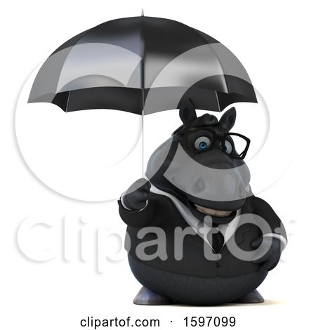 Clipart of a 3d Chubby Black Business Horse Holding an Umbrella, on a White Background - Royalty Free Illustration by Julos