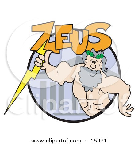 Strong Male Greek Good, Zeus Clipart Illustration by Andy Nortnik