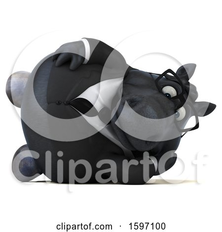 Clipart of a 3d Chubby Black Business Horse Resting on His Side, on a White Background - Royalty Free Illustration by Julos