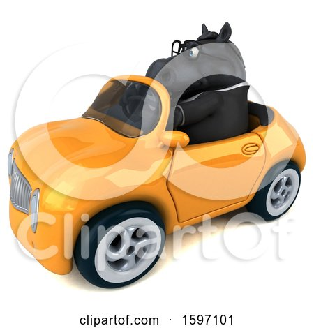 Clipart of a 3d Chubby Black Business Horse Driving a Convertible, on a White Background - Royalty Free Illustration by Julos