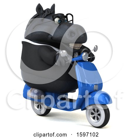 Clipart of a 3d Chubby Black Business Horse Riding a Scooter, on a White Background - Royalty Free Illustration by Julos