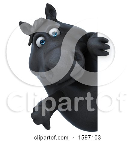 Clipart of a 3d Chubby Black Horse Holding a Thumb Down, on a White Background - Royalty Free Illustration by Julos
