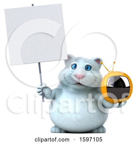 Clipart of a 3d White Kitty Cat Holding a Tv, on a White Background - Royalty Free Illustration by Julos