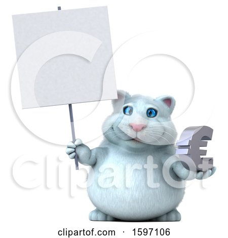 Clipart of a 3d White Kitty Cat Holding a Euro, on a White Background - Royalty Free Illustration by Julos